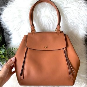 Tory Burch Bags - Tory Burch Half Moon Tan Expandable Leather Tote